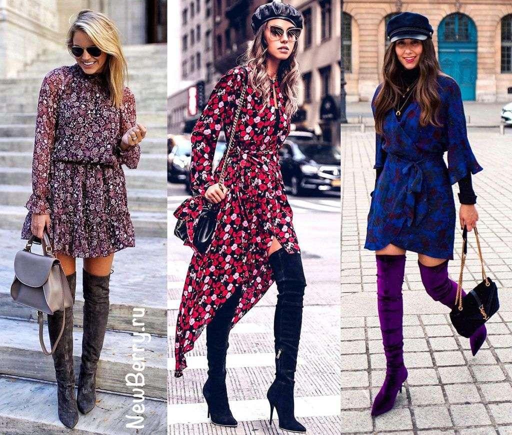 Ботфорты + платье с принтом
